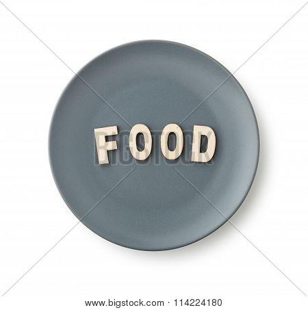 Food , Wooden Alphabet Blocks In Plate