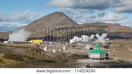 General View Of Mutnovskaya Geothermal Power Station On Kamchatka