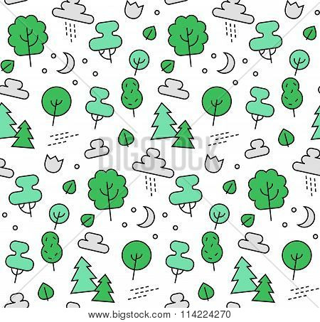Nature Elements Seamless Icons Pattern