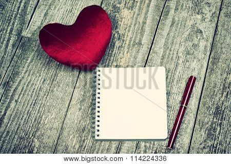 Red Velour Heart And Blank Notepad