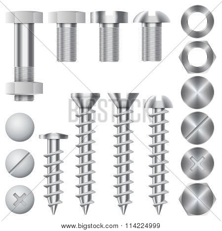 Construction hardware vector icons. Screws, bolts, nuts and rivets