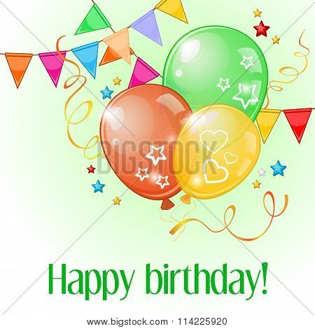 Birthday Card With Three Balloons And Pennants Over Light Green