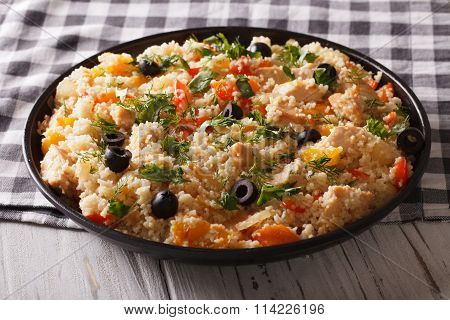 African Cuisine: Couscous With Chicken And Vegetables. Horizontal
