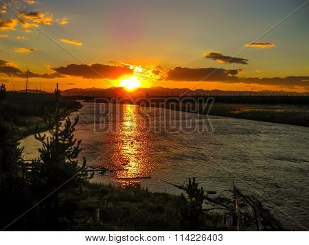 Yellowstone river at sunset