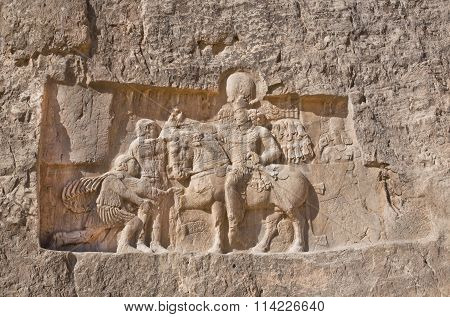Historical Relief Carved Between 239 - 70 Ad About Triumph Of King Shapur I The Great, Persian Ruler