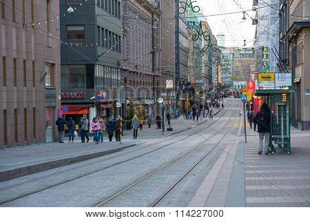 HELSINKI, FINLAND - DECEMBER 26, 2015: Helsinki city center decorated for Christmas on December 26, 2015 in Helsinki, Finland