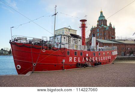 HELSINKI, FINLAND - DECEMBER 26, 2015: Relandersgrund ship restaurant at daytime on December 26, 2015 in Helsinki, Finland