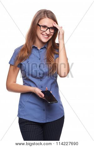 Laughing woman holding cell phone