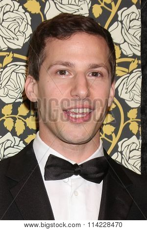 LOS ANGELES - JAN 10:  Andy Samberg at the HBO Golden Globes After Party 2016 at the Beverly Hilton on January 10, 2016 in Beverly Hills, CA
