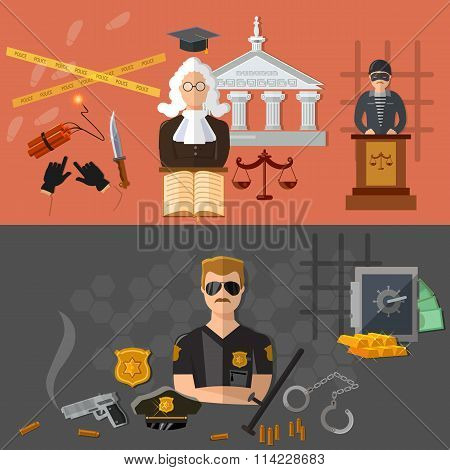 Crime And Punishment Defendant And Judge In The Courtroom