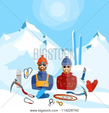Mountain Tourism Winter Sports Snowboarding Skiing Mountain Rescuers