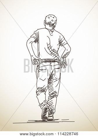 Sketch of walking man from back, Hand drawn illustration