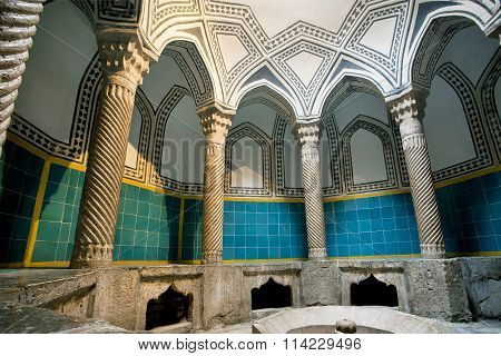 Hamam Bath Room In Traditional Oriental Style With Tiles And Columns