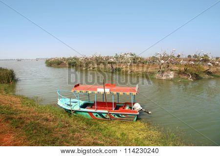 Colorful boat at kolleru lake and bird sanctuaryin India