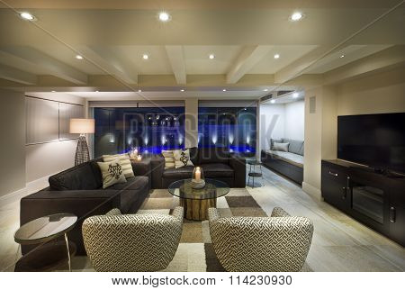 Beautiful Living Room With A Tv Set