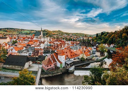 Old town Cesky Krumlov in Czech republic. Autumn season.