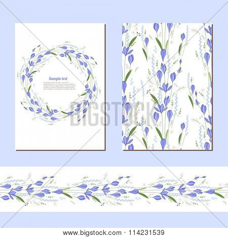 Floral spring templates with cute bunches of crocus. Endless horizontal  pattern brush.  For romantic and easter design, announcements, greeting cards, posters, advertisement.