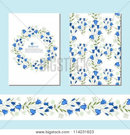 Floral spring templates with cute bunches of bluebells. Endless horizontal  pattern brush.  For romantic and easter design, announcements, greeting cards, posters, advertisement.