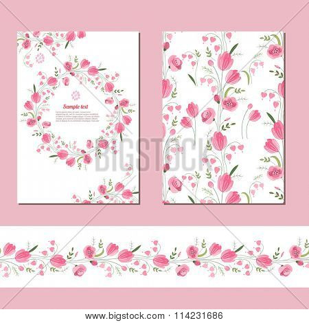 Floral spring templates with cute bunches of pink tulips. Endless horizontal  pattern brush.  For romantic and easter design, announcements, greeting cards, posters, advertisement.