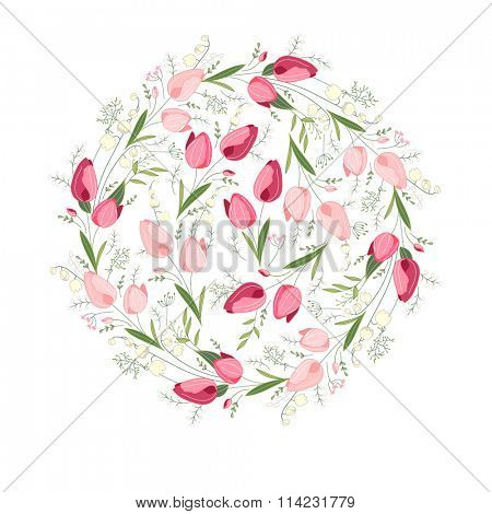 Stylized round template with cute bunches of tulips. Floral spring pattern for romantic and easter design, wedding announcements, greeting cards, posters, advertisement.