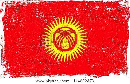 Kyrgyzstan Vector Flag on White