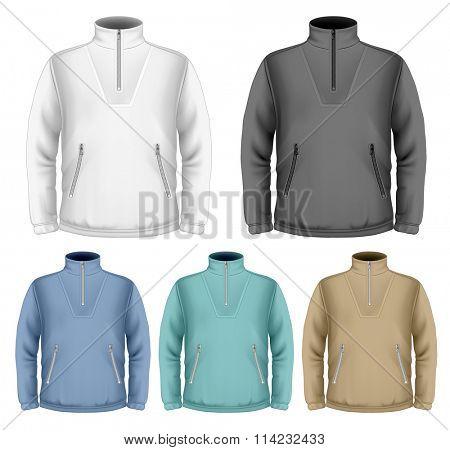 Men's fleece sweater. Vector illustration. Fully editable handmade mesh.