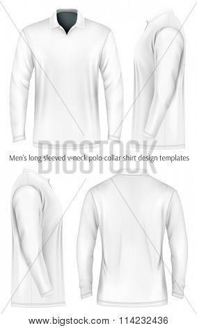 Men's long sleeve polo shirt (front, side and back views). Vector illustration. Fully editable handmade mesh.