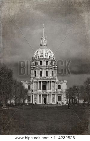 Les Invalides building in black and white with texture
