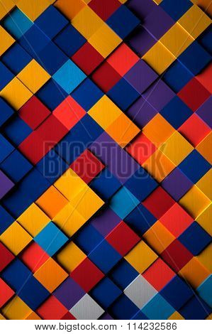 3D Bright Multicolored Cubes Background