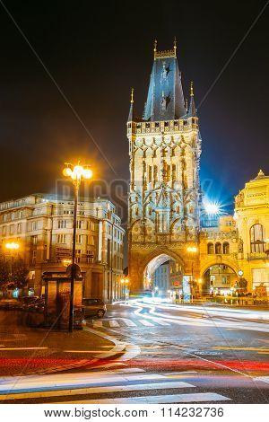 Night Traffic near Powder Tower or Powder Gate in Prague, Czech