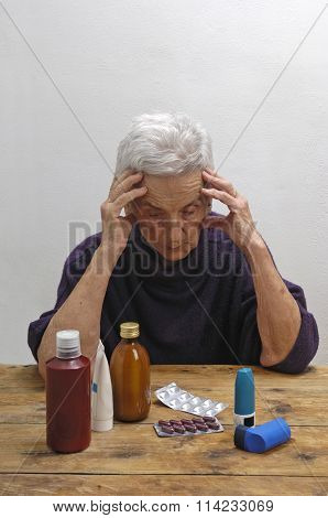 Senior Woman With Many pharmaceuticals