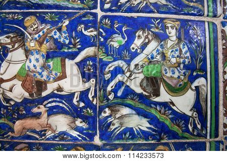 Riders On Horseback During The Hunt On The Vintage Ceramic Tiles Of The 19Th Century
