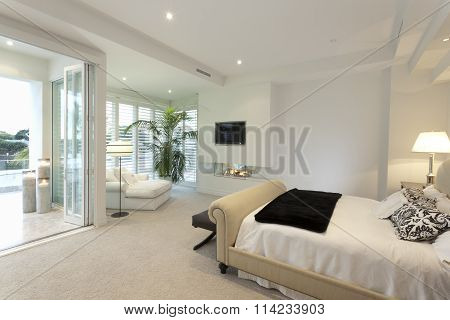 Warm Bedroom With A Terrace