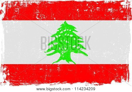 Lebanon Vector Flag on White