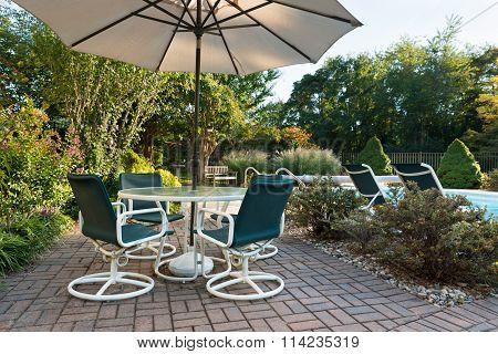 Backyard Patio and Landscaped Yard