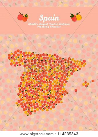 Map of Spain made out of pink peaches. Vegetarian.
