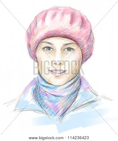 Hand drawn portrait of beautiful smiling woman in pink beret