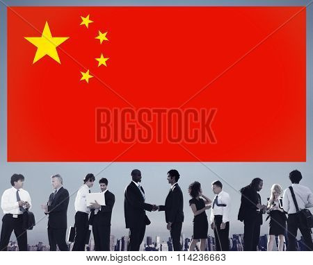 China National Flag Business People Team Concept