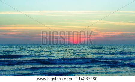 Sea in the evening after sunset.