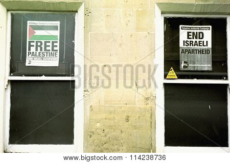 Posters in windows of Bath's Islamic Centre.