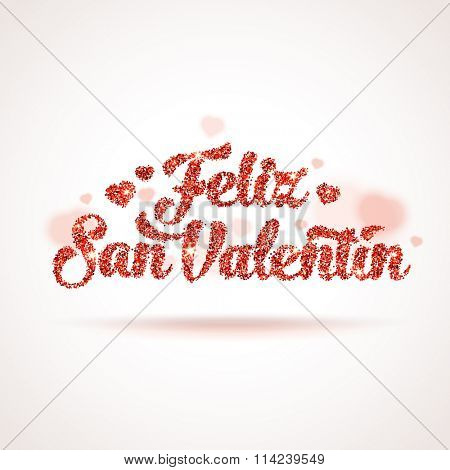 Valentines day illustration. Happy Valentines Day in Spanish. Feliz Dia de San Valentin. Red vector square shape glitters with blurred hearts.