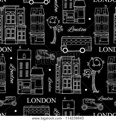 Vector Black White London Streets Hand Drawn Seamless Pattern with houses, trees, busses, and cars.