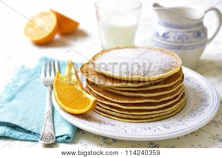 Homemade Orange Pancakes.
