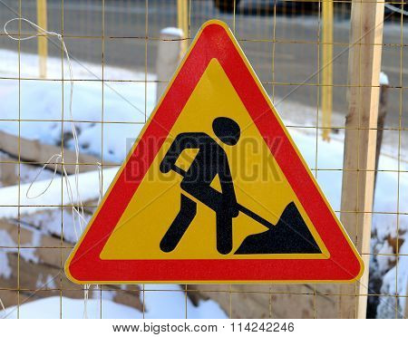 Road Sign Of Work