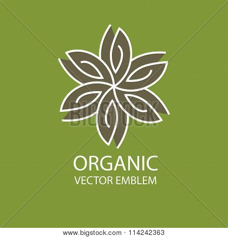 Vector organic emblem, outline monogram, flower symbol