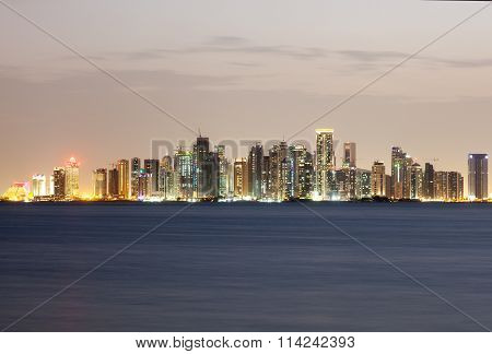 Doha West Bay Skyline At Night. Qatar, Middle East
