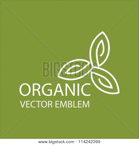 Vector abstract organic emblem, outline monogram, symbol
