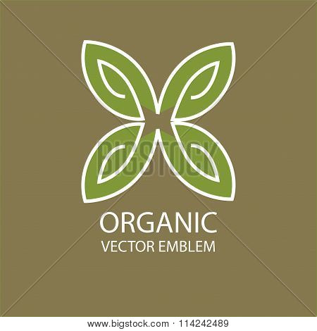 Vector abstract butterfly organic emblem, outline monogram, symbol