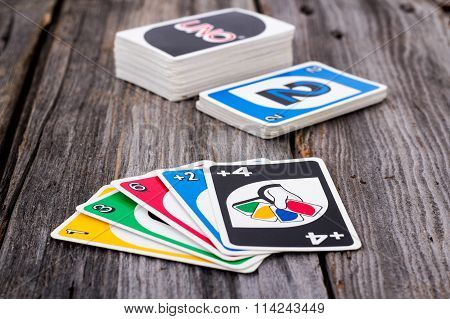 Uno Card Game On Wood Table