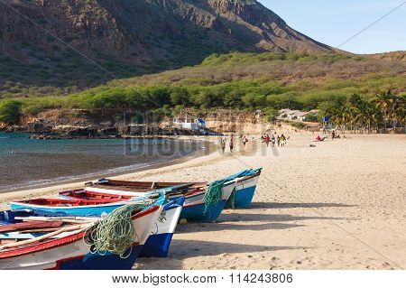 Fisher Boats In Tarrafal Beach In Santiago Island In Cape Verde - Cabo Verde